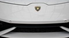 Lamborghini at Auto Show Closeup Stock Footage
