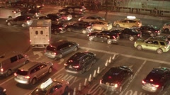 Street traffic commuting in the city at night. cars transportation Stock Footage