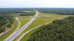 Aerial view of the road and intersections Stock Footage