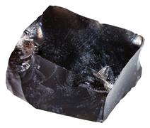 Black obsidian (volcanic glass) mineral isolated Stock Photos