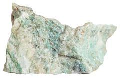 Green listvenite (Listwanite) mineral isolated Stock Photos