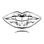 Fashion vector hand drawn female lips Stock Illustration
