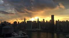 Sunset Timelapse with Clouds Over Empire State Building and Midtown Manhattan Stock Footage
