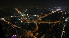 Cityscape, Expressway with light of car on road and city, Timelapse Stock Footage