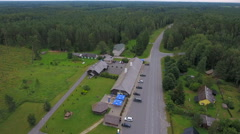 The aerial view of the parking area on the roadside Stock Footage