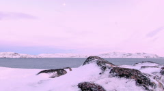 Sunset on the Barents Sea. Teriberka, Murmansk region, Russia. Full HD Stock Footage