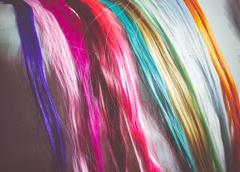 Colorful Synthetic Hair Strands Macro Stock Photos