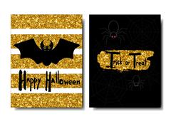 Happy Halloween. Black bat on a golden background. Spiders and web.Universal Stock Illustration