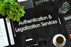 Authentication and Legalization Services Concept. 3D render Stock Illustration