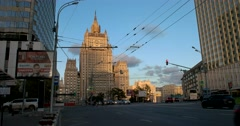 The evening sunset gilded the spire of  the Ministry of foreign Affairs Stock Footage