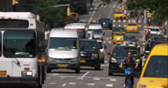 New York City automobile and pedestrian traffic in slow motion Stock Footage
