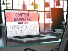 Content Marketing Concept on Laptop Screen. 3D Illustration Stock Illustration