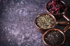 Assortment of dry tea. healthy food concept Stock Photos