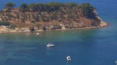 Yacht on the island. Beautiful sea view. Luxury Vacation in Outdoor Resort Kusha Stock Footage
