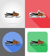 Snowmobile for snow ride flat icons vector illustration Piirros