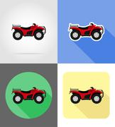 Atv motorcycle on four wheels off roads flat icons vector illustration Stock Illustration