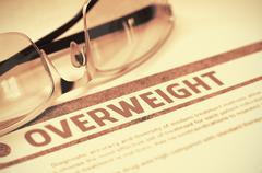 Diagnosis - Overweight. Medicine Concept. 3D Illustration Stock Illustration