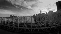 Bridge road panorama view. traffic cars commuting scene Stock Footage