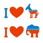 I love democrat. I like Republican. Symbol of heart, donkey and elephant. Pos Stock Illustration