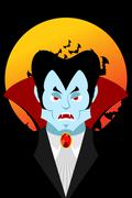 Count Dracula and moon. Evil vampire. Aggressive ghoul. Poster for terrible H Stock Illustration