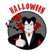 Halloween emblem. Dracula winks and shows thumb up. Merry scary holiday Stock Illustration