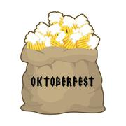 Big sack with mug beer for Oktoberfest . Gift for holiday in Germany. bag ful Stock Illustration