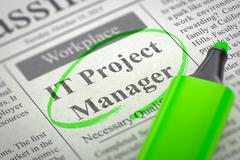 IT Project Manager Job Vacancy. 3D Illustration Stock Illustration