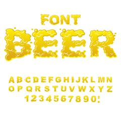 Beer font. Yellow liquid ABC. Flowable typography. Alcoholic alphabet. drink  Stock Illustration
