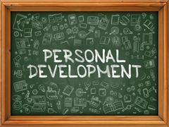 Personal Development - Hand Drawn on Green Chalkboard Stock Illustration