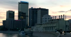 Pink sunset, quay of Moscow river, high-rise buildings,  the factory chimneys Stock Footage
