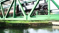 Steam Train on bridge Stock Footage