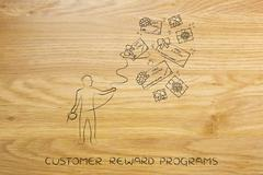 Person with lasso catching free coupons, client rewards Stock Illustration