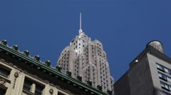Old Classic Vintage Art Deco Building Stands Tall in NYC Stock Footage