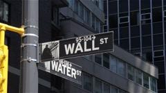 Wall Street Sign Stands Tall Stock Footage