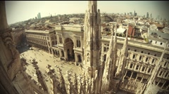 Aerial view of Milan and the Duomo, Italy Stock Footage