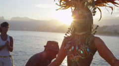 Woman dressed in carnival costume dancing Stock Footage