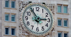 Woolworth Building Clock closeup during a hot New York City summer day Stock Footage