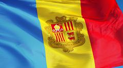 Andorra flag, close up, isolated with clipping path alpha channel Stock Photos