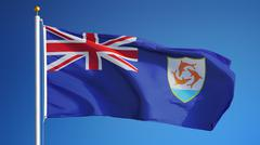 Anguilla flag, close up, isolated with clipping path alpha channel Stock Photos