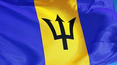 Barbados flag, close up, isolated with clipping path alpha channel Stock Photos