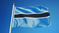 Botswana flag, close up, isolated with clipping path alpha channel Stock Photos
