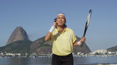 Woman tennis player wins gold medal Stock Footage