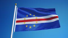 Cape Verde flag, close up, isolated with clipping path alpha channel Stock Photos