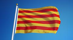 Catalunya flag, close up, isolated with clipping path alpha channel Stock Photos
