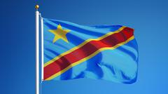 Democratic Republic of the Congo flag, close up, isolated with clipping path Stock Photos