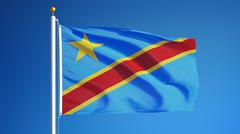 Democratic Republic of the Congo flag waving against clean sky, close up, iso Stock Photos