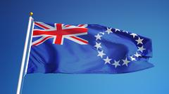 Cook Islands flag, close up, isolated with clipping path alpha channel Stock Photos