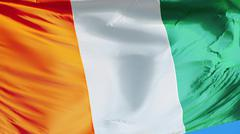 Cote Ivoire flag, close up, isolated with clipping path alpha channel Stock Photos
