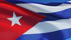 Cuba flag, close up, isolated with clipping path alpha channel Stock Photos