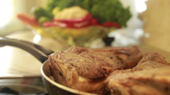 Piece of roast beef. steaming Stock Footage